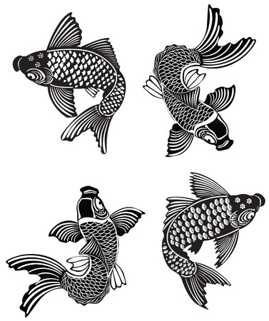 koi: Vector illustration of Koi fishes in traditional Japanese ink style