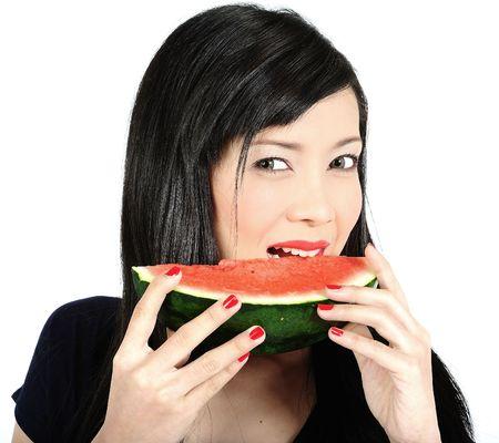 Beautiful young asian girl eating watermelon Stock Photo - 6332645