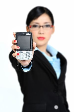 cel: Young asian woman holding Handphone (Focus on Screen)