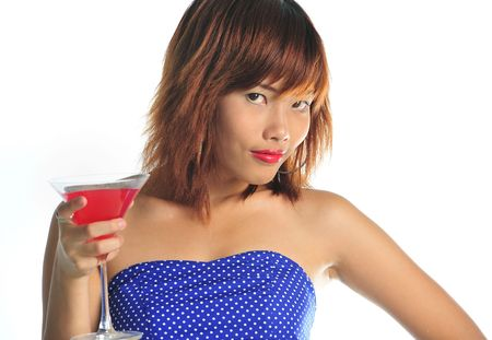 Very seductive young asian woman at a cocktail party Stock Photo - 6359192
