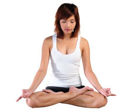 thai yoga: Very seductive young asian woman practicing yoga in lotus posture