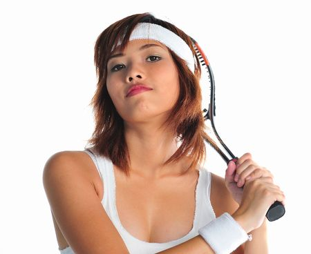 Very seductive young asian woman playing badminton photo