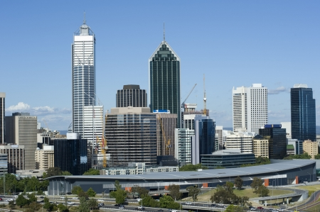 perth: View of Perth skyline from Kings Park Stock Photo