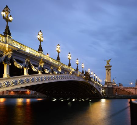 paris at night: France, Paris: night view of  river SEINE near Alexandre III bridge