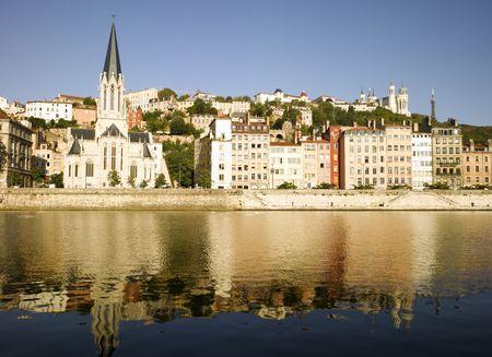 river bank: France, Lyon: Saone river bank