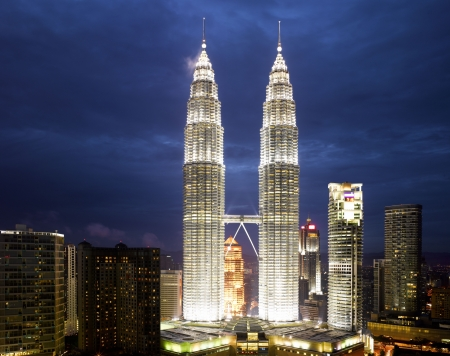 twin tower: Malaysia -  Kuala Lumpur Cityscape with twin tower (large format photography)