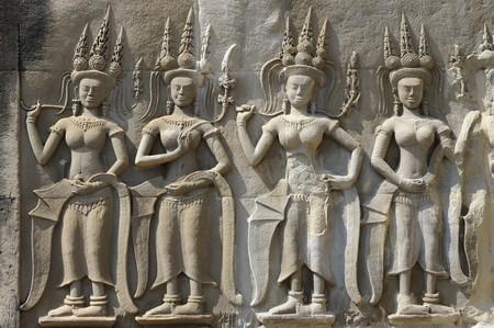 Cambodia Angkor Apsara on the wall of Angkor wat photo