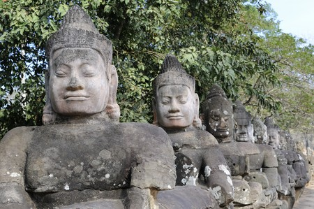 thom: Cambodia the gate of Angkor Thom Stock Photo