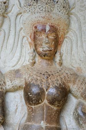 apsara: Cambodia Angkor Apsara on the wall of Angkor wat Stock Photo
