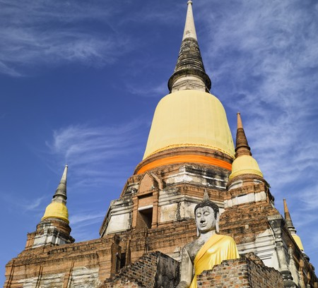 yai: Thailandia - Ayutthaya Wat Yai Chai Mongkon Archivio Fotografico
