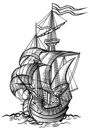 yacht race: un viejo barco de vela en madera de cortar el estilo de dibujo  Foto de archivo