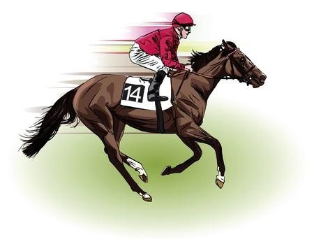 caballo jinete: un caballo de carreras y jockey  Foto de archivo