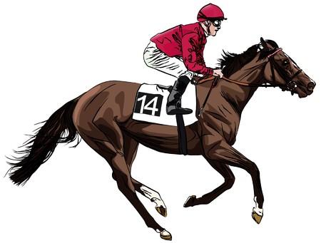 uomo a cavallo: un cavallo da corsa e fantino Archivio Fotografico