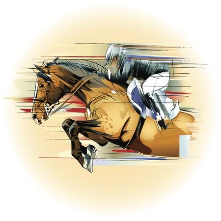 springpaard: een jumping paarden en jockey  Stockfoto
