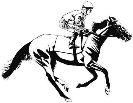 cavallo che salta: un cavallo da corsa e fantino Archivio Fotografico