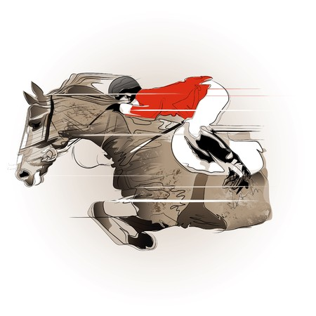 jockeys: a jumping horse and jockey