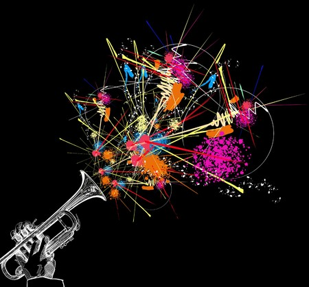 brass instrument: trumpet with colorful abstract decoration Stock Photo