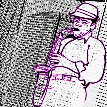 soprano saxophone: un saxofonista sobre un fondo de edificios de la ciudad  Foto de archivo