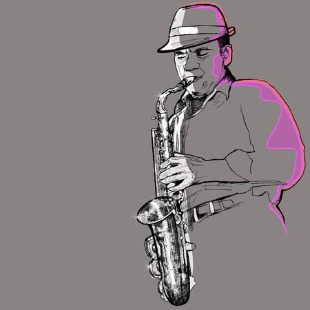 soprano saxophone: un saxofonista sobre un fondo gris  Foto de archivo