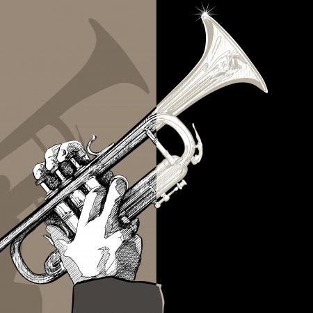 brass wind: a trumpet on brown background