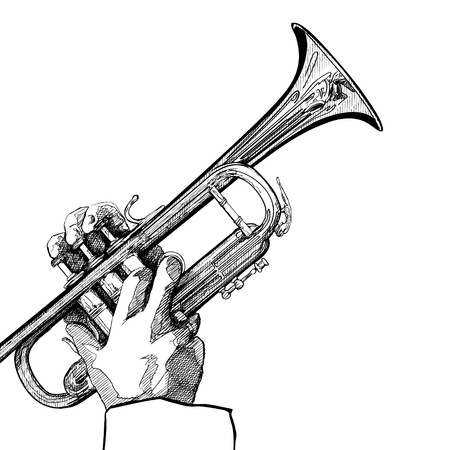 brass instrument: a trumpet on white background Stock Photo