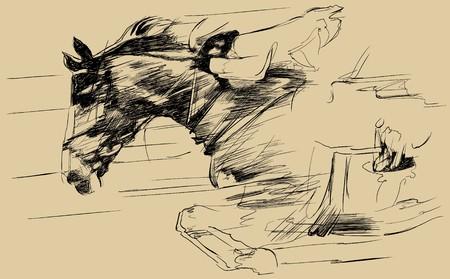 hobby horse: a jumping horse and jockey