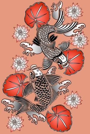 pez carpa: Estilo de tinta de peces Koi en japon�s tradicional