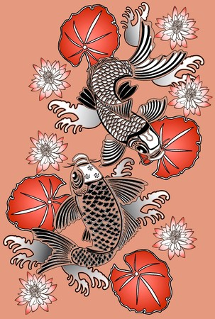 koi: Koi fishes in traditional Japanese ink style