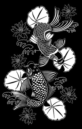 Koi fishes in traditional Japanese ink style photo