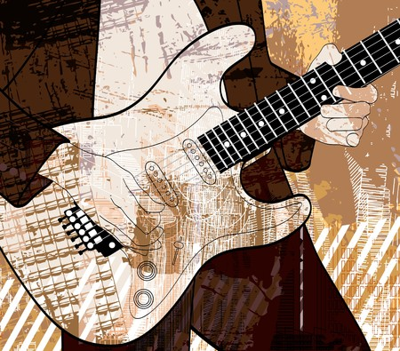 blues: an electric guitar player on grunge background Stock Photo