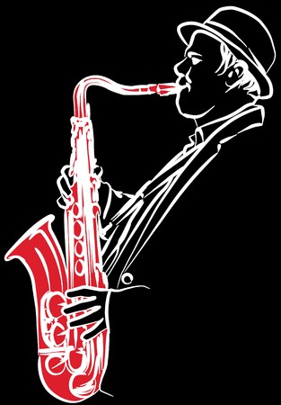 saxophonist: a saxophonist on a black background