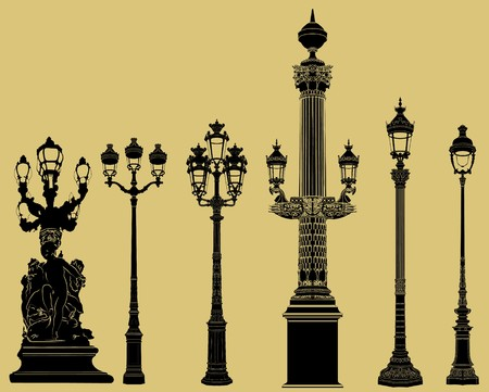lit lamp: a old fashioned lampost set Stock Photo