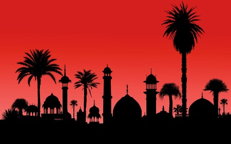 indian monument and palm trees silhouettes Stock Photo - 7482149