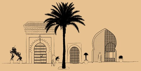 a hand drawing typical street scenery in Morocco photo