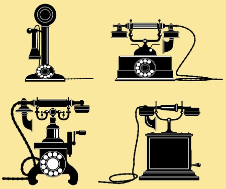 telephones: a set of old telephones