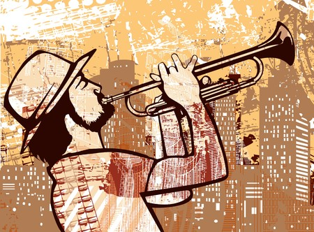 soul music: a trumpeter on a grunge backgrounf Stock Photo