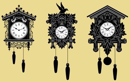 cuckoo clock: Conjunto de relojes de cuco  Foto de archivo