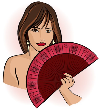 seductive woman: a very seductive young asian woman with fan