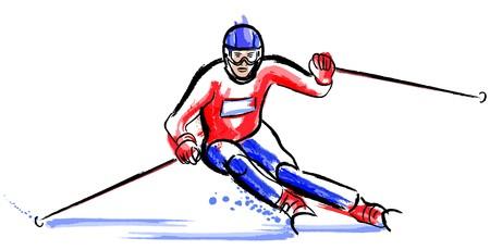 watercolor technique: skier in dry chalkcharcoal pencil and watercolor technique