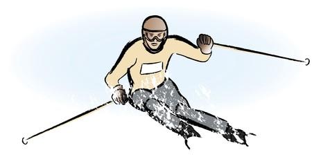 watercolor technique: a snowboarder in dry chalkcharcoal pencil and watercolor technique