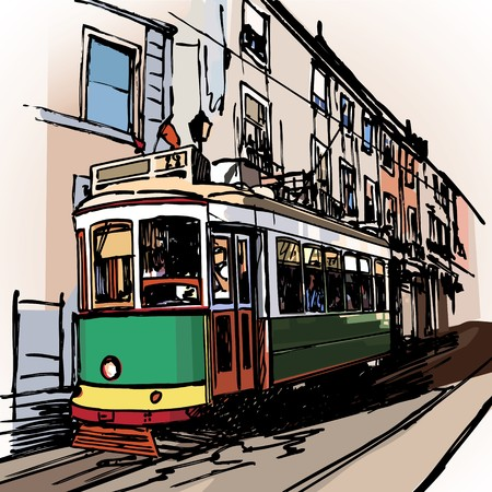 tramway: a typical tramway  in Lisbon - Portugal  Stock Photo