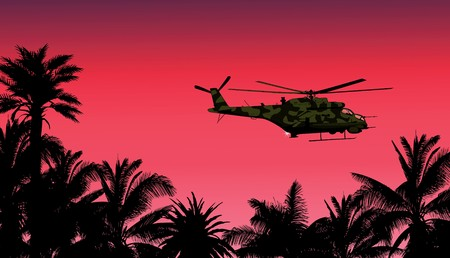 vietnam war: helicopter against the sunset
