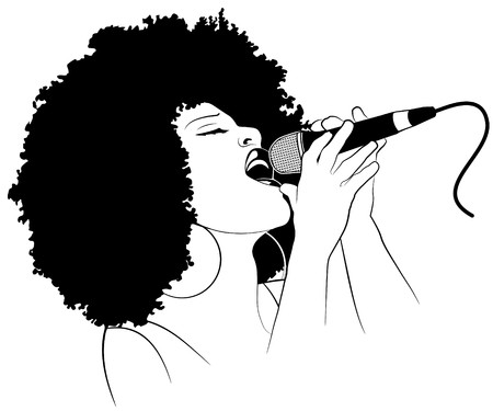singer with microphone: an afro american jazz singer Stock Photo