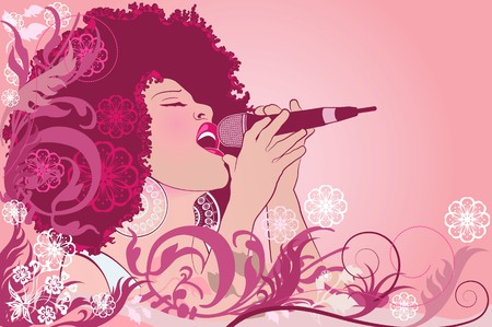 an afro american jazz singer on floral background photo