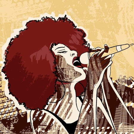 performance art: an afro american jazz singer on grunge background Stock Photo