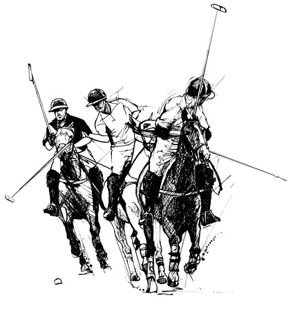 horse competition: polo players (hand drawing) Stock Photo