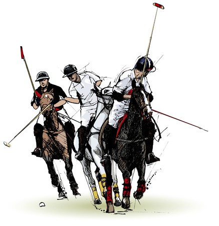 horses in field: polo players (hand drawing) Stock Photo
