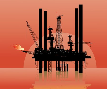 a drilling platform in sea Stock Photo