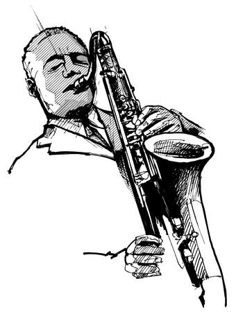 soprano saxophone: un saxofonista sobre un fondo blanco  Foto de archivo