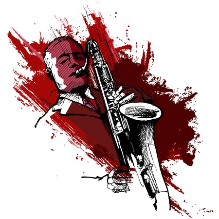 soprano saxophone: un saxofonista sobre un fondo de grunge
